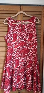 Michael Kors Red Paisley Fit and Flare Dress